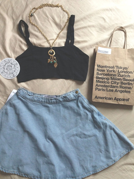 skirt tank top top jewels girl summer summer outfit necklace look outfit denim skirt blue denim