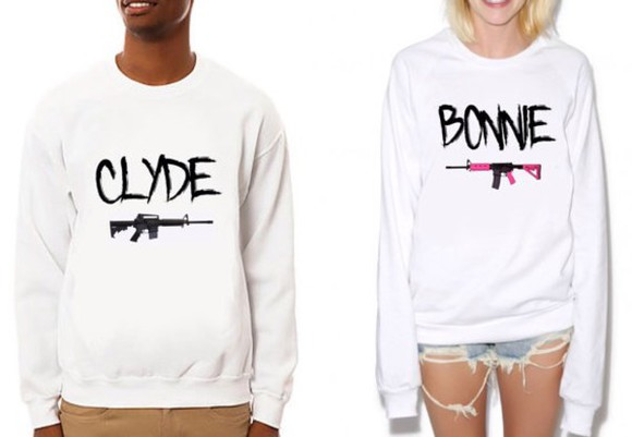couples matching tshirt selfie bonnie and clyde couples sweater matching couples sweater