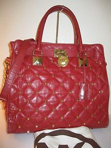 Michael Kors Red Quilted Large Hamilton Studded Tote Shoulder Bag $448 | eBay