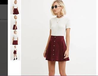 skirt red dark red button up skirt grunge