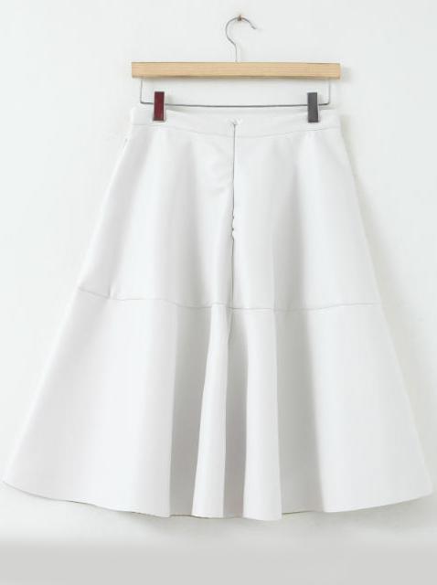 Falda polipiel cintura alta-blanco