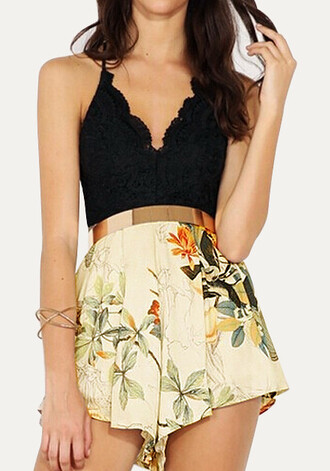 romper floral lace black gold