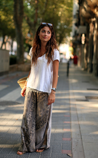 skirt maxi print grey skirt pants maxi skirt comfy pants tribal pattern boho bohemian slouchy boho pants boho pattern loose boho pants green boho pants