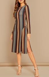 dress,girly,girl,girly wishlist,bodycon dress,bodycon,stripes,striped dress,slit dress