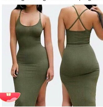 dress green green dress bodycon dress tight bodycon sexy sexy party dresses slit dress sexy dress cute cute dress summer summer dress olive green olive green dress summer outfits spring dress spring outfits pool party trendy date outfit birthday dress holiday dress style stylish fashion clubwear club dress