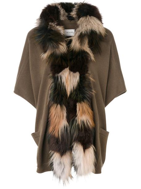 Yves Salomon cardigan fur trim cardigan cardigan fur fox women silk wool brown sweater