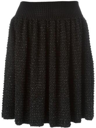 skirt pleated knit women black wool