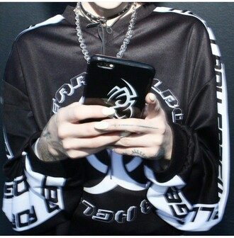 sweater motorcycle jersey black and white pattern goth