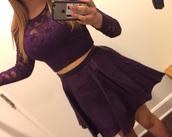dress,purple,2 piece dress set,long sleeves