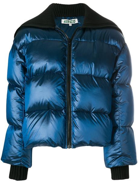Kenzo jacket puffer jacket women cotton blue