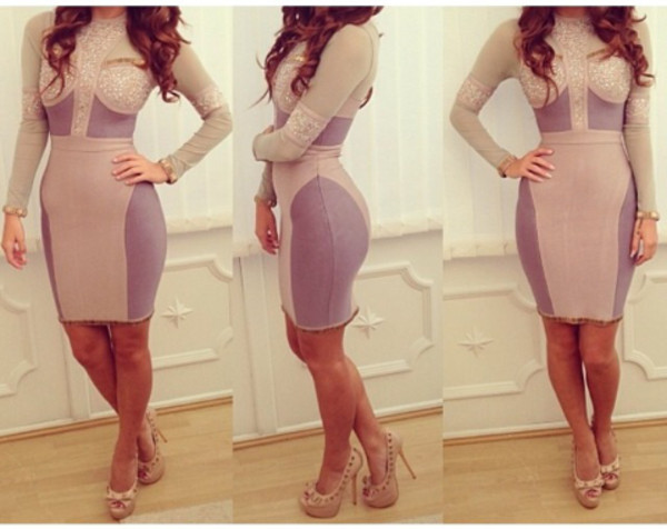 dress bodycon dress nude bandage dress