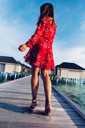 dress,tumblr,mini dress,red dress,long sleeves,long sleeve dress,sandals,sandal heels,high heel sandals,Silver sandals