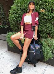 skirt,olivia culpo,instagram,mini skirt,jacket,top,burgundy,bag,backpack