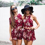 shorts,set,matching set,burgundy,maroon floral,maroon floral set,flowered shorts,floral crop,peppermayo