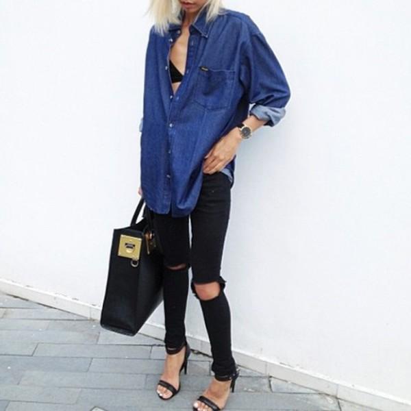 blouse denim ripped jeans black skinny jeans skinny jeans sandals sandal heels denim blouse shopper bag bag jeans