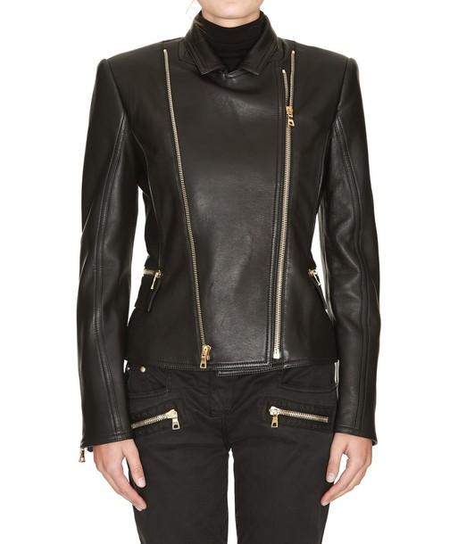 Balmain jacket leather jacket leather black