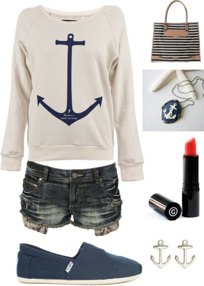 anchor sweater anchor earrings anchor bracelet style knit sweater clothes outfits shorts girl's clothes anchor sweater pinterest shirt white shirt anchor necklace striped purse, red lipstick blue shoes
