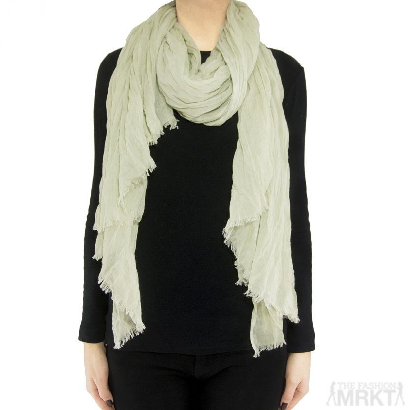 Tilo Bamboo Viscose Soft Crinkle Scarf in 'Grass' / TheFashionMRKT