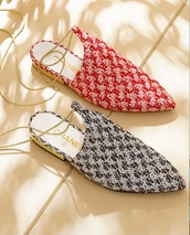 shoes,babouches,chanel babouche,print babouches,chanel,slippers,red babouches