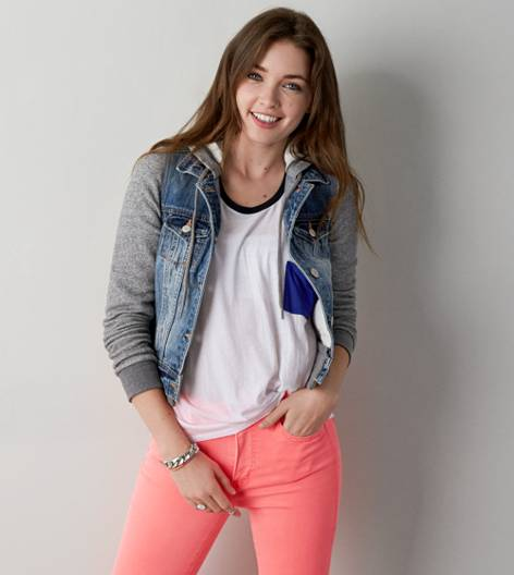 AEO Denim Vested Hoodie, Medium Rinse | American Eagle Outfitters