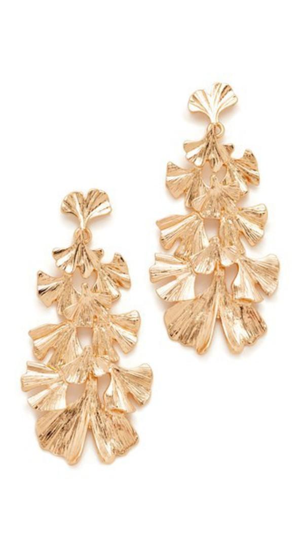 Stella + Ruby Stella + Ruby Leaf Dangle Earrings in gold