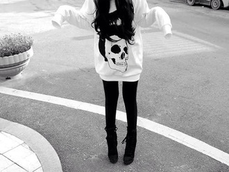 sweater white skull grunge