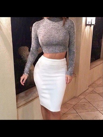 skirt grey pencil skirt white crop tops women classy