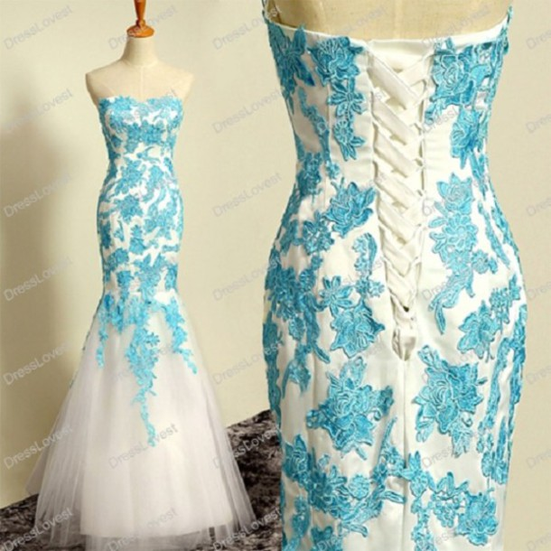 mermaid wedding dress, corset wedding dresses, white and blue ...