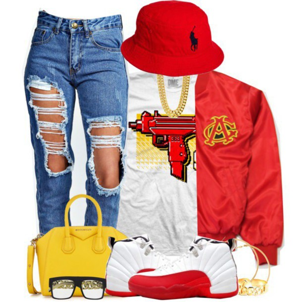 T-shirt white t-shirt polyvore red ripped jeans bucket hat polo hat dope - Wheretoget