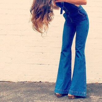 jeans divergence clothing denim overalls boho boho chic bell bottoms