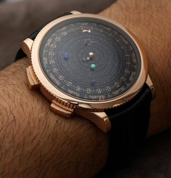 jewels planets fancy clock watch