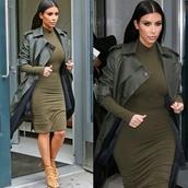 dress,khaki,bodycon dress,kim kardashian