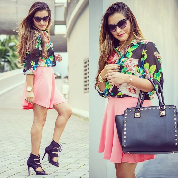 skirt coral skater skirt blouse bag sunglasses coral skater skirt coral skirt