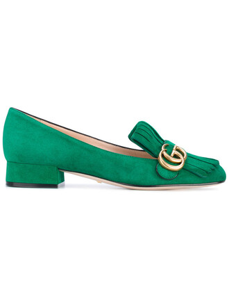 women loafers leather suede green shoes