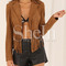 Brown long sleeve tassel jacket -shein(sheinside)