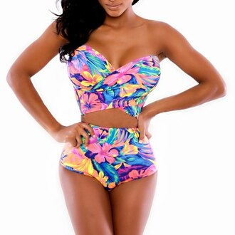 swimwear floral cop top pastel colour two-piece bikini bikini bottoms bikini top floral flowered shorts pastel hippie tie dye tie dye swimwear strapless bikini strapless boobtube bright coloured bikini flowery bikini