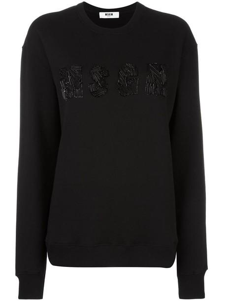 MSGM sweatshirt embroidered women cotton black sweater