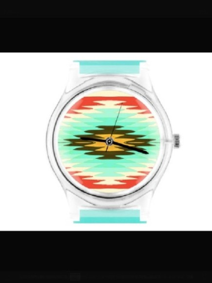 aztec navajo ethnic geometric pastel neon jewels watch watches light blue