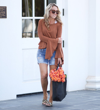 twopeasinablog blogger sweater shorts bag jewels sunglasses shoes bell sleeves denim shorts tote bag summer outfits