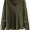 Army green choker v neck zipper detail sweater -shein(sheinside)