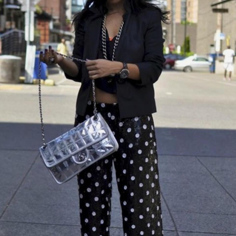 Chanel Ice Cube Metallic Silver Leather Shoulder Bag