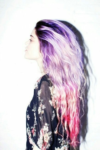 kimono multicolor pink hair summer outfits pastel hair ombre hair floral kimono hairstyles wavy hair purple hair