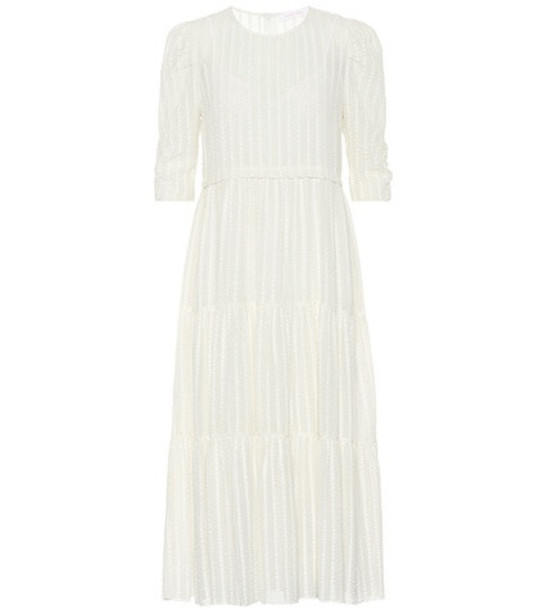 See By Chloé Striped cotton-blend dress in white