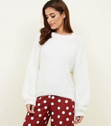 Cream Fluffy Slouchy Jumper | New Look