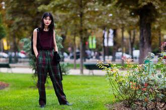 pants fashion week street style fashion week 2016 fashion week paris fashion week 2016 plaid tartan burgundy sleeveless top sleeveless black choker choker necklace streetstyle