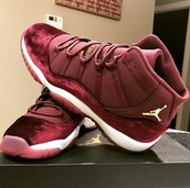 shoes,jordans,pink jordans,sneakers,jordan,velvet,red jordan 11s,jordan's 11,white,burgundy,jordan 11s