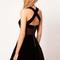Black velvet mesh cutout cross strap back dress