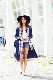 preppy fashionist,blogger,hat,tartan scarf,trench coat,blue