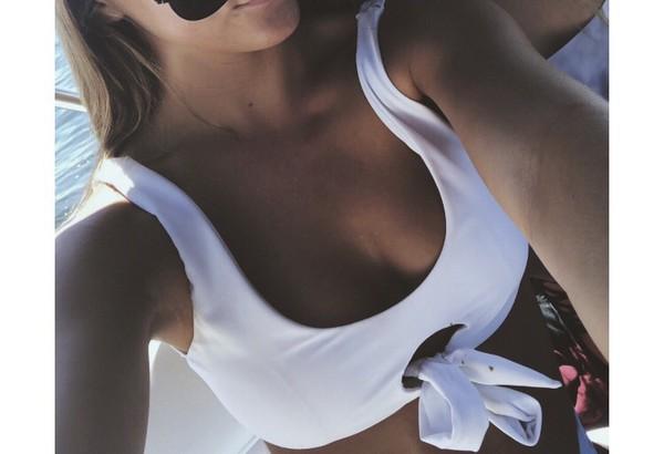 swimwear white swimwear white bikini bikini top white top white crop tops swimwear two piece cut-out swimwear cutout bikini