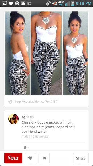 printed pants pants sweetheart neckline black and white